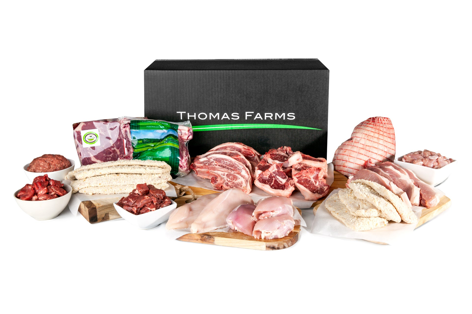 Exploded Family Value Meat Box displaying products offered