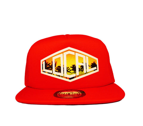 Local Roots Diamond  Trucker Hat Red