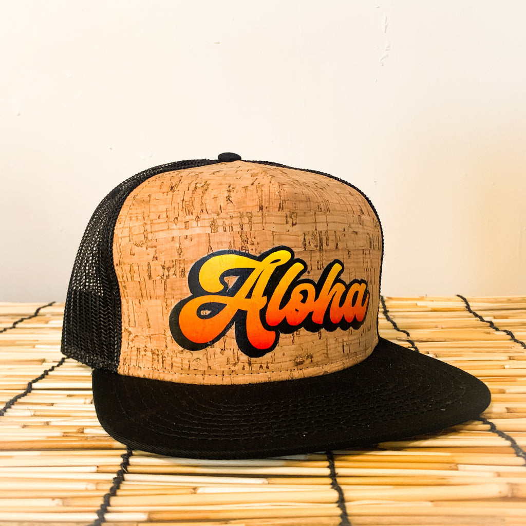Local Roots Aloha Script Cork Trucker