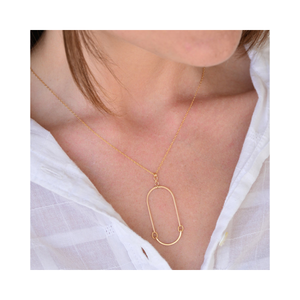 Gold Elongated Oval Necklace