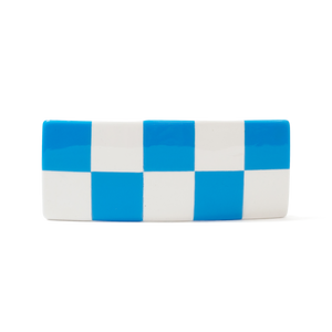 Checker Barrette - Blue + White