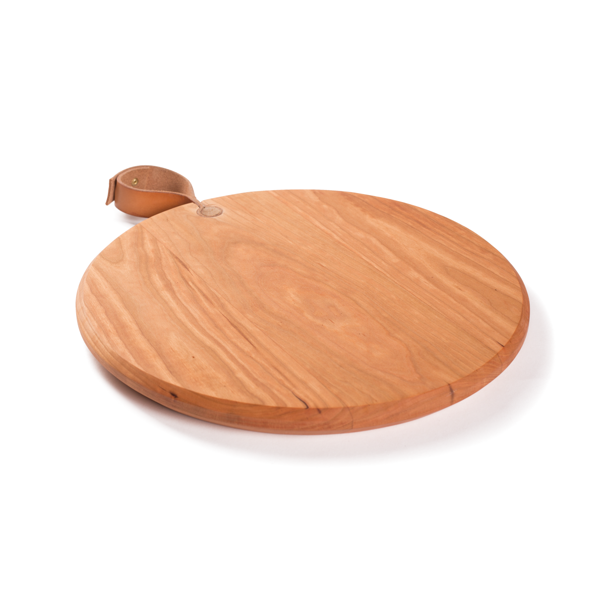 Round Cutting Board with Leather Handle