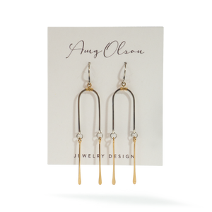 Mixed Double Gold Bar Earrings