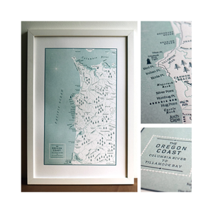 Letterpress Map of Oregon Coast