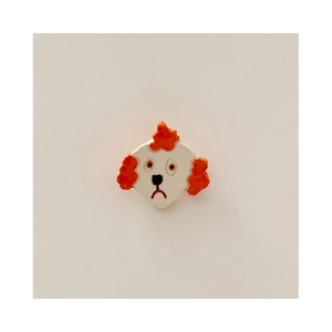 Ceramic Poodle Pin