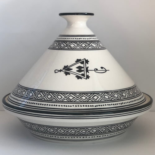 Tagine Tunisian White w/ Black Accents