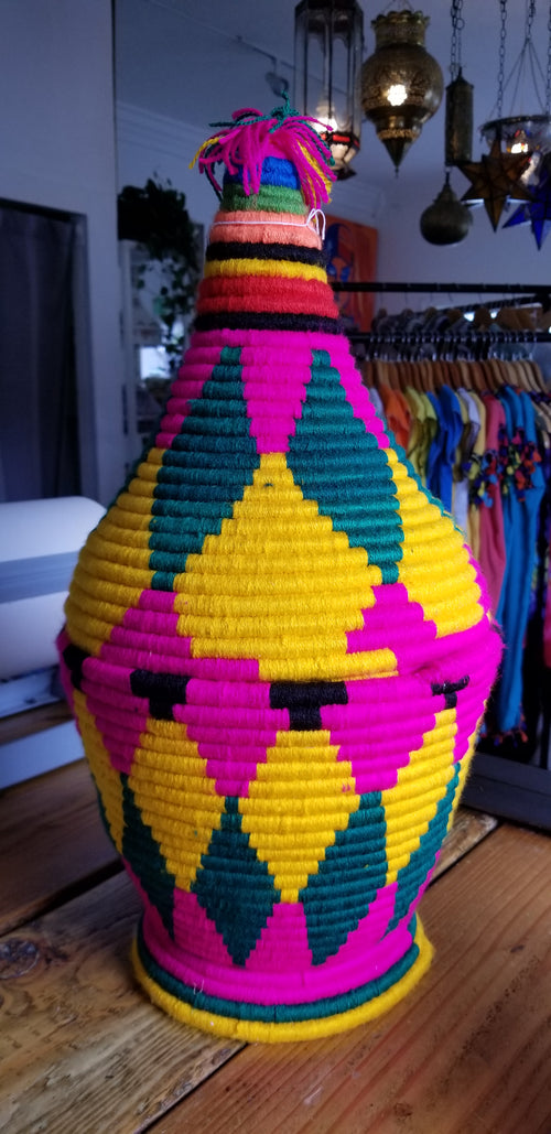 Basket Moroccan colorful weave cone