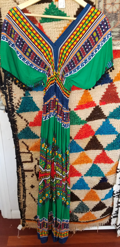 Dress Womens tribal cover up green