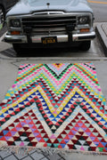 "Rug Moroccan Triangle Pop Boucherouite 7'8""x4'3"""