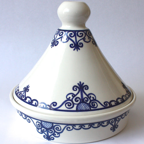 Tagine Tunisian White w/ Blue Accents