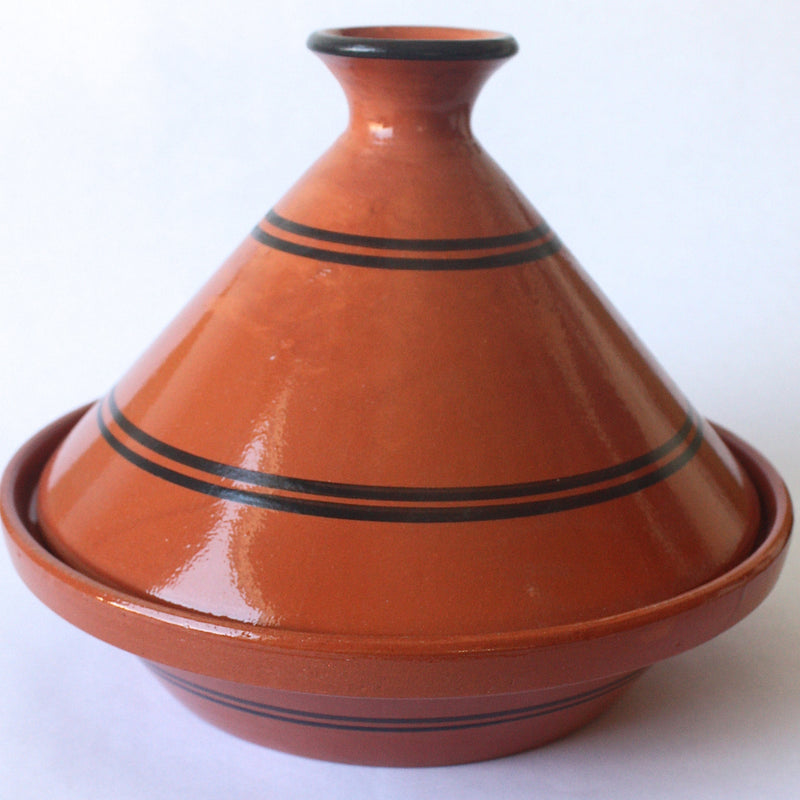 Tagine Tunisian Clay Cooking w/Black Stripe