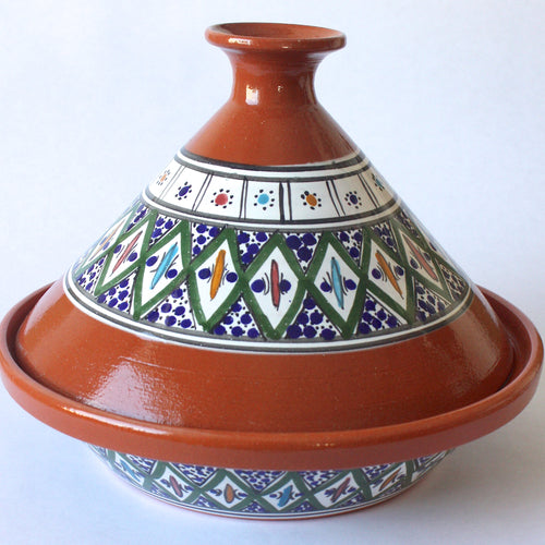 Tagine Tunisian Clay Cooking w/Green Accents
