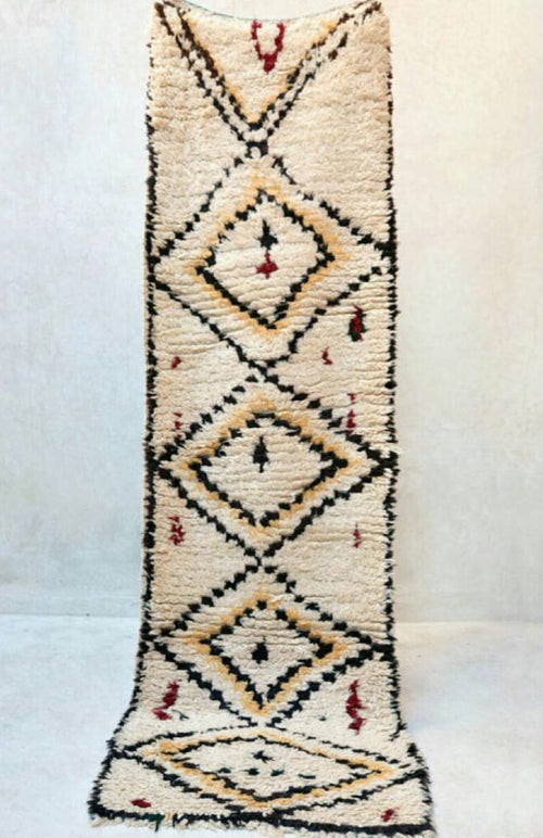 Rug Moroccan Azilal cream 4 diamond runner