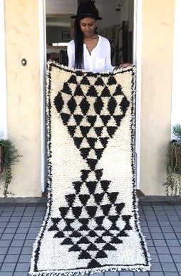 Rug Moroccan Beni Ourain triangle runner 2.9x7
