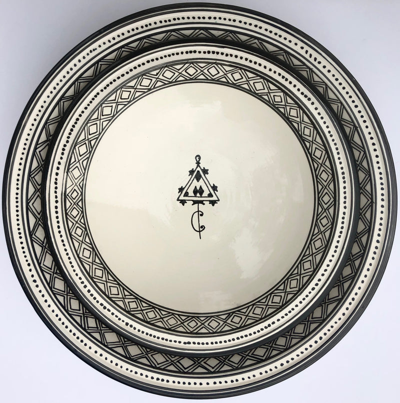 Serving Bowl Tunisian White W/Black