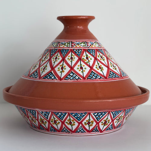 Tagine Tunisian Clay Cooking w/Red Accents