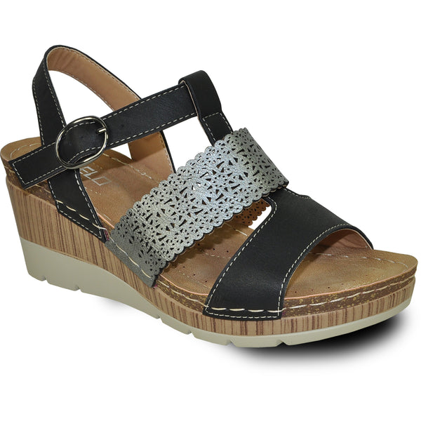 VANGELO Women Sandal FAITH Wedge Sandal Black