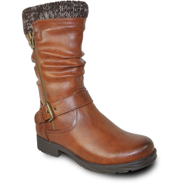 VANGELO Waterproof Women Boot HF0601 Ankle Winter Fur Casual Boot Brown