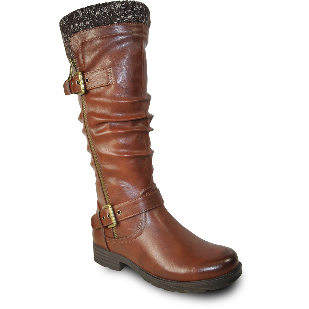 VANGELO Waterproof Women Boot HF0617 Knee High Winter Fur Casual Boot Brown