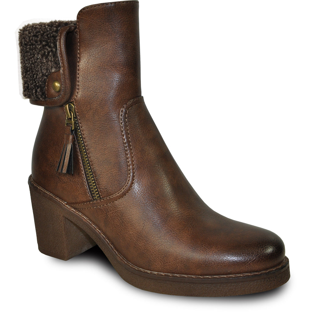 VANGELO Women Boot HF8410 Ankle Dress Boot Brown