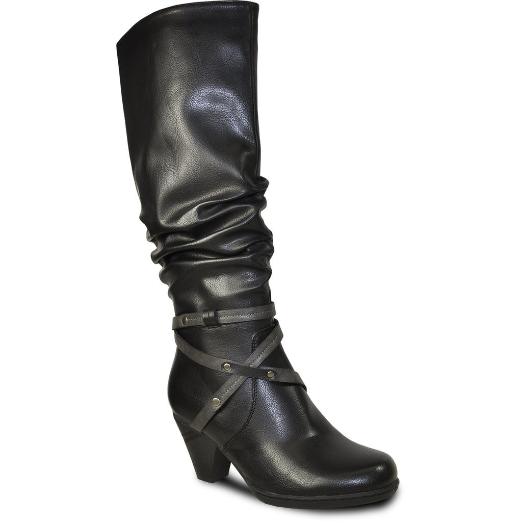 VANGELO Women Boot HF9427 Knee High Dress Boot Black