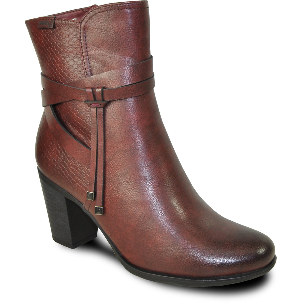 VANGELO Women Boot HF9433 Ankle Dress Boot Bordo Red