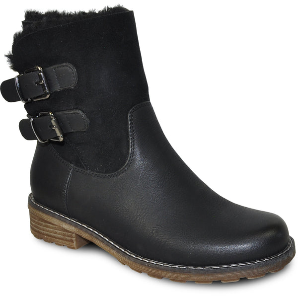 VANGELO Women Water Proof Boot HF9537 Ankle Winter Fur Casual Boot Black
