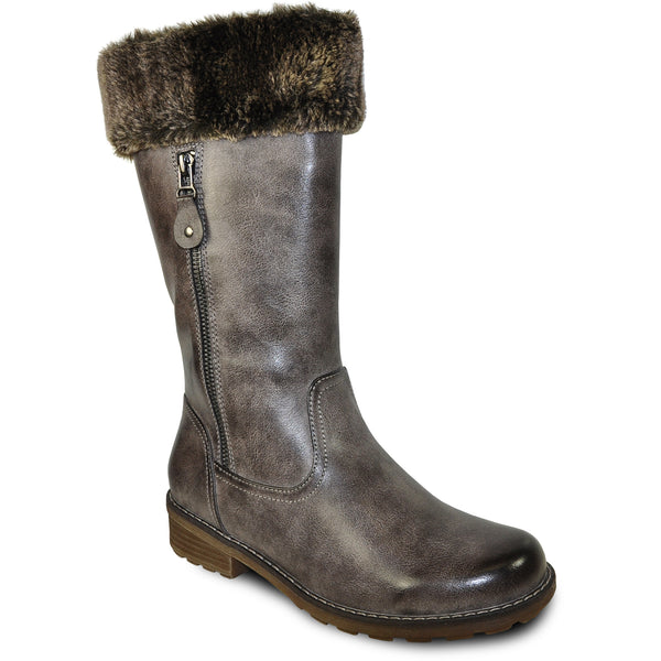 VANGELO Women Water Proof Boot HF9539 Knee High Winter Fur Casual Boot Cool Brwon