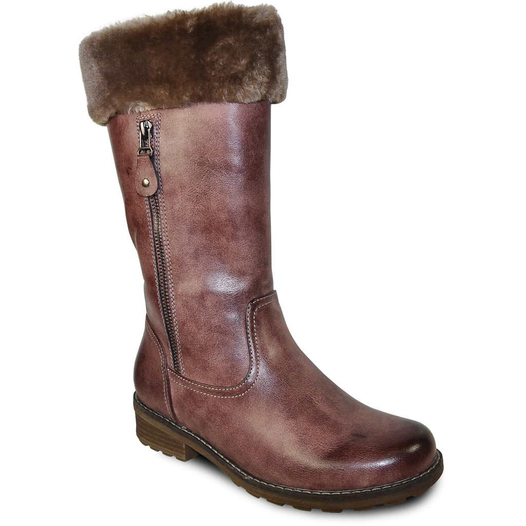 VANGELO Women Water Proof Boot HF9539 Knee High Winter Fur Casual Boot Rose Red