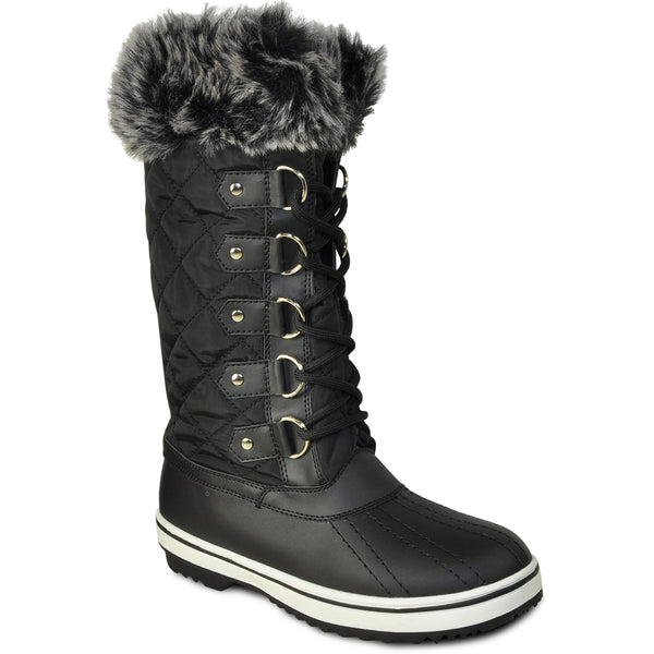 VANGELO Women Water Proof Boot JL9519 Knee High Winter Fur Casual Boot Black