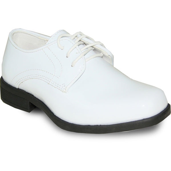 JEAN YVES Boy JY01KID Dress Shoe Formal Tuxedo for Prom & Wedding White Patent