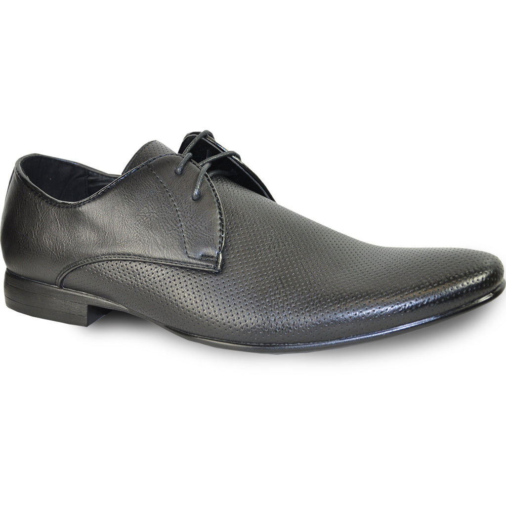 BRAVO Men Dress Shoe KLEIN-1 Oxford Shoe Black with Leather Lining