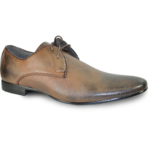 BRAVO Men Dress Shoe KLEIN-1 Oxford Shoe Brown with Leather Lining