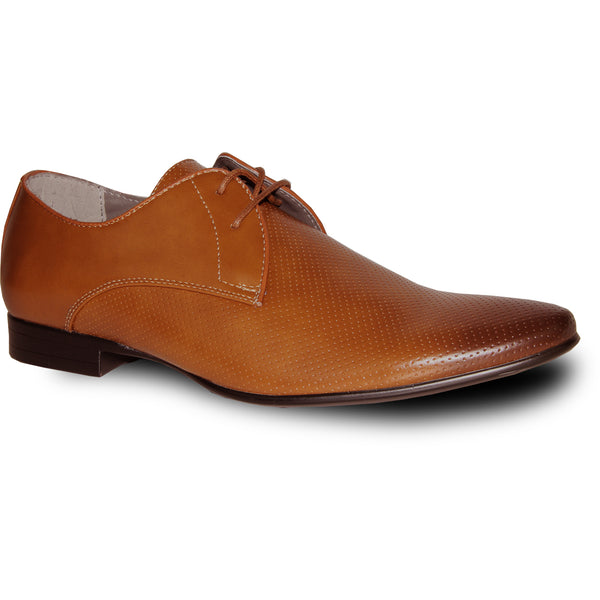 BRAVO Men Dress Shoe KLEIN-1 Oxford Shoe Tan with Leather Lining