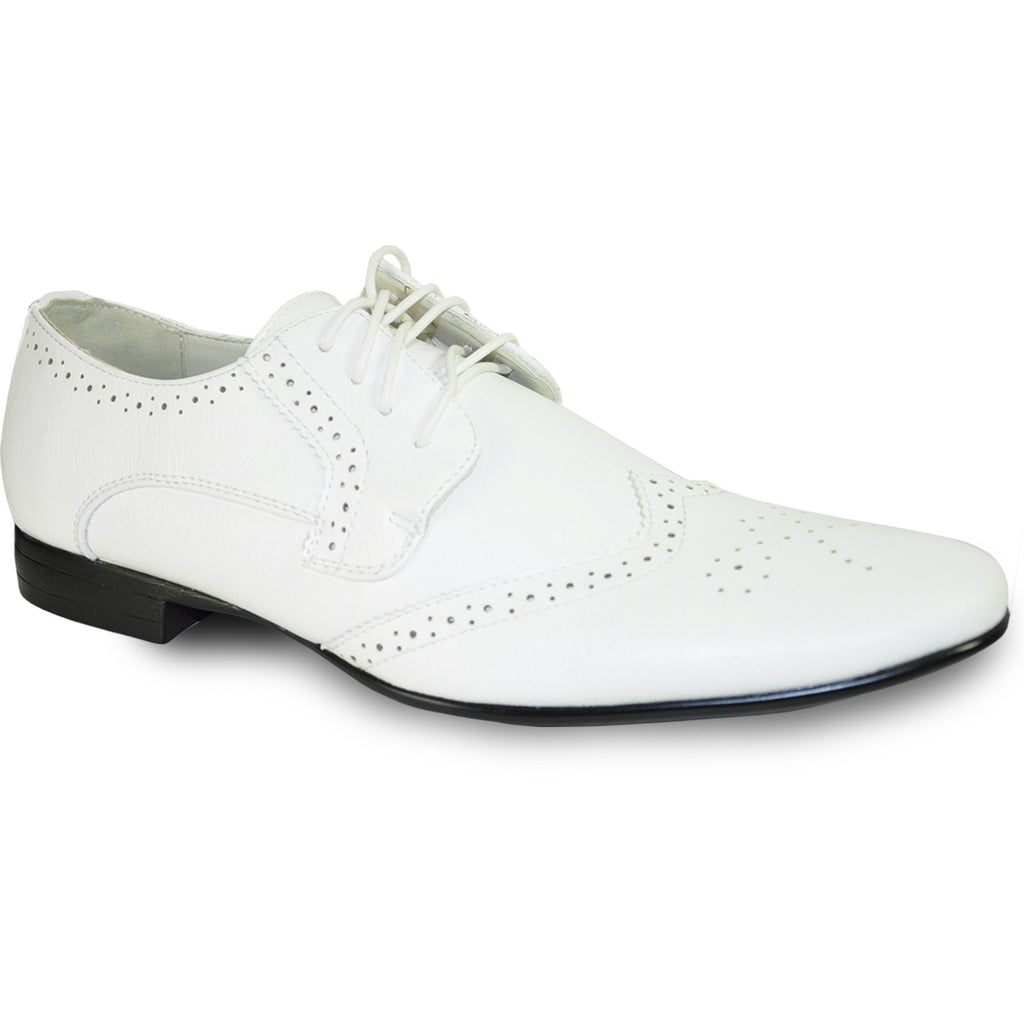 BRAVO Men Dress Shoe KLEIN-4 Wingtip Oxford Shoe White