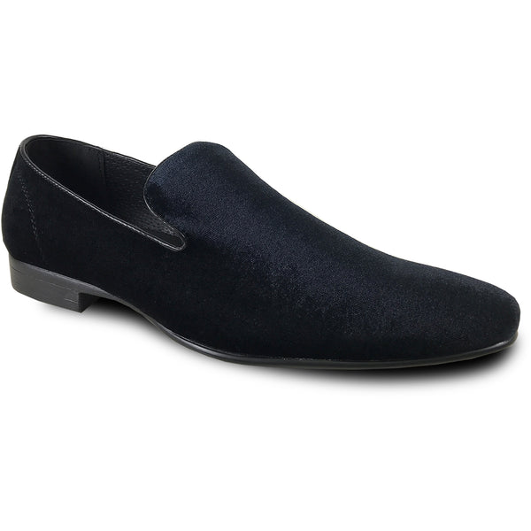 BRAVO Men Dress Shoe KLEIN-7 Loafer Shoe Black Velvet with Leather Lining