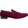 BRAVO Men Dress Shoe KLEIN-7 Loafer Shoe Burgundy Red Velvet with Leather Lining