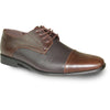 BRAVO Men Dress Shoe NEW KELLY-2 Oxford Shoe Brown Matte - Wide Width Available