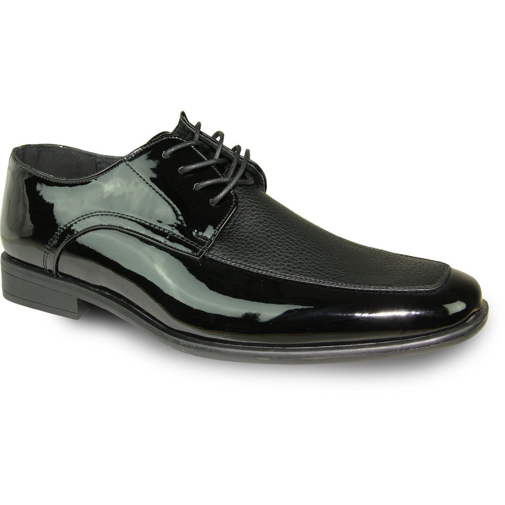 BRAVO Men Dress Shoe NEW KELLY-1 Oxford Shoe Black Patent - Wide Width Available