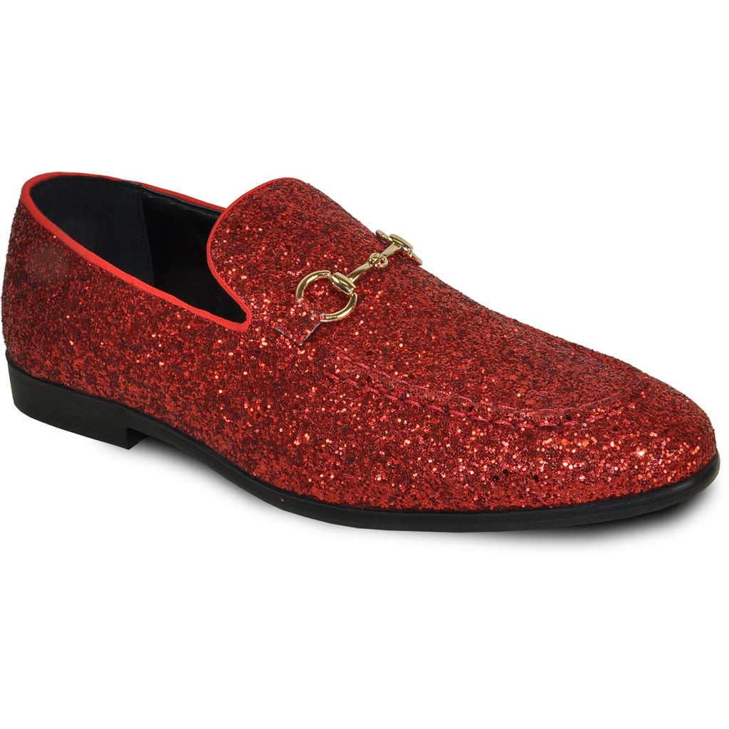 BRAVO Men Dress Shoe PROM-1 Loafer Shoe for Prom & Wedding Red