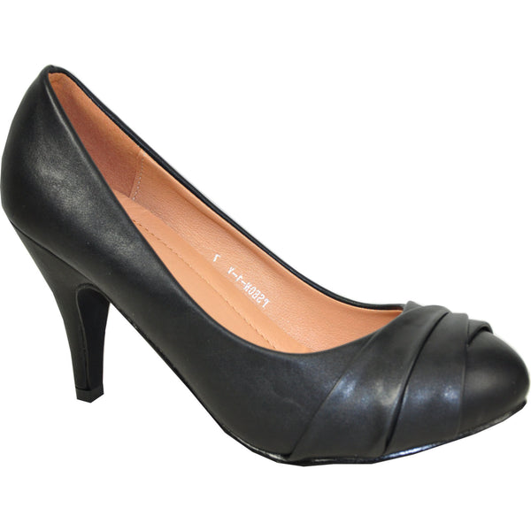VANGELO Women Dress Shoe PSEON-1 Heel Pump Shoe Black