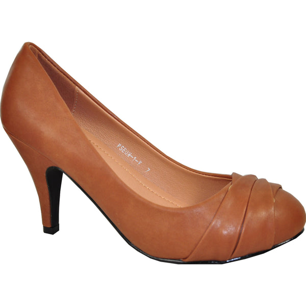VANGELO Women Dress Shoe PSEON-1 Heel Pump Shoe Camel