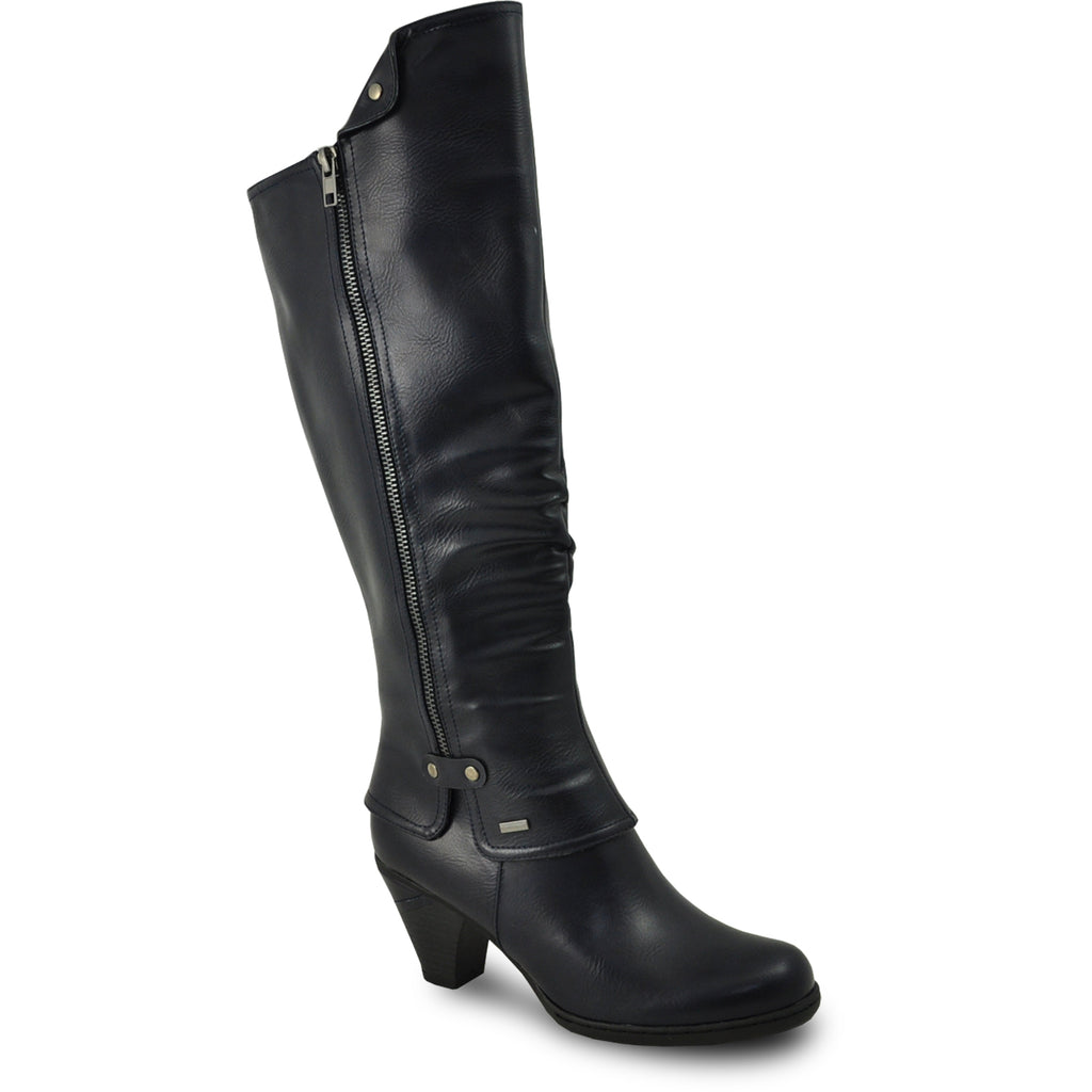 VANGELO Women Boot SD7408 Knee High Dress Boot Navy Blue