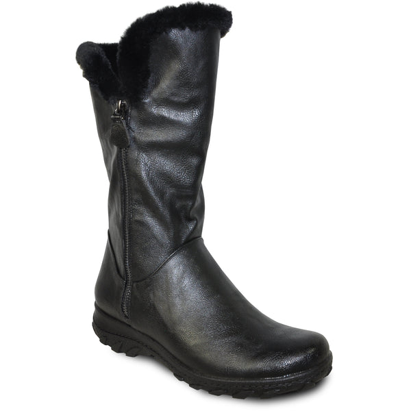 VANGELO Women Boot SD9531 Knee High Winter Fur Casual Boot Black
