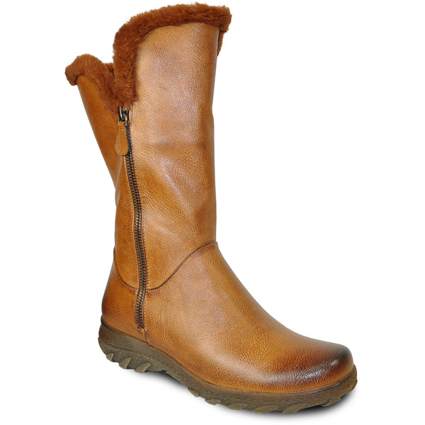 VANGELO Women Boot SD9531 Knee High Winter Fur Casual Boot Camel Brown