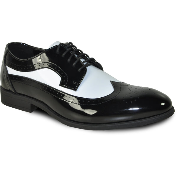 VANGELO Men Dress Shoe TAB-3 Oxford Formal Tuxedo for Prom & Wedding Shoe Black/White Patent Two Tone - Wide Width Available