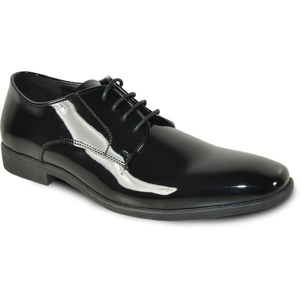 VANGELO Men Dress Shoe TUX-12 Oxford Formal Tuxedo for Prom & Wedding Black Patent - Wide Width Available