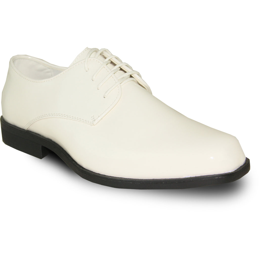 VANGELO Men Dress Shoe TUX-1 Oxford Formal Tuxedo for Prom & Wedding Ivory Patent - Wide Width Available