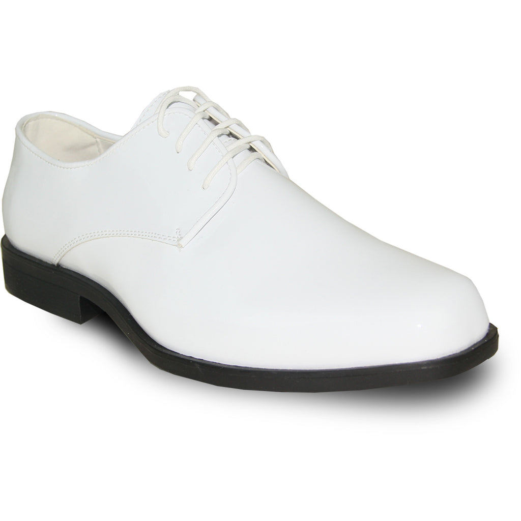 VANGELO Men Dress Shoe TUX-1 Oxford Formal Tuxedo for Prom & Wedding White Patent - Wide Width Available
