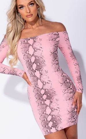 Glamour by DKUK Snake Print Bandeau Bodycon Dress Pink